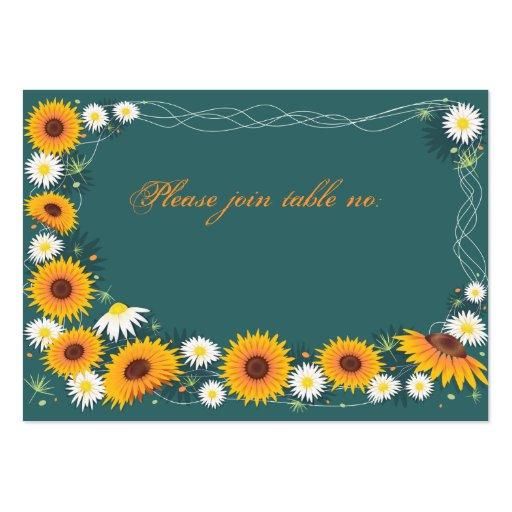 Sunflower & Daisy Wedding Party Table Place Card
