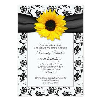 "Sunflower Damask Birthday Party Invitation 5"" X 7"" Invitation Card"