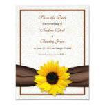 """Sunflower Damask Floral Save the Date Announcement 4.25"""" X 5.5"""" Invitation Card"""