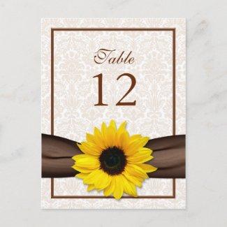Sunflower Damask Floral Table Number Card postcard