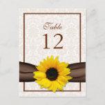 Sunflower Brown Damask Floral Table Number Card