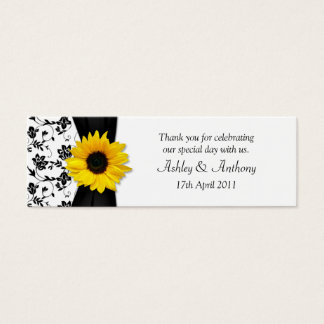 Sunflower Damask Floral Wedding Favor Tags