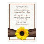 "Sunflower Damask Floral Wedding Invitation 5"" X 7"" Invitation Card"