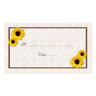 Sunflower Damask Floral Wedding Place Cards Business Card Templates