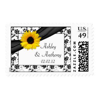 Sunflower Damask Floral Wedding Postage