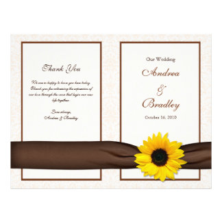 Sunflower Damask Floral Wedding Program