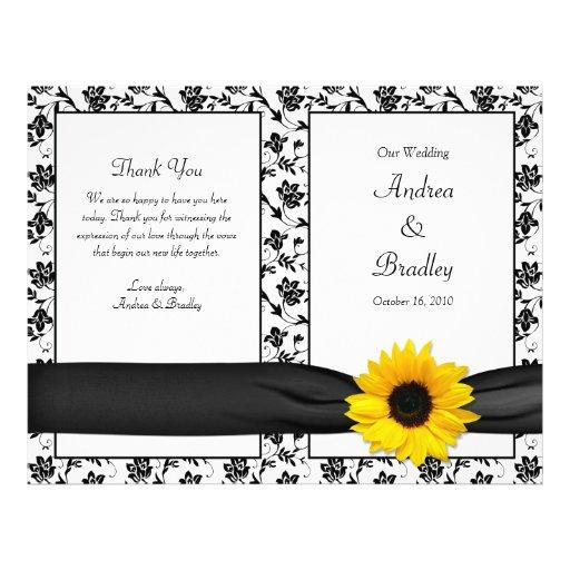 Sunflower Damask Floral Wedding Program Flyers