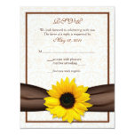 Sunflower Damask Floral Wedding Response Card