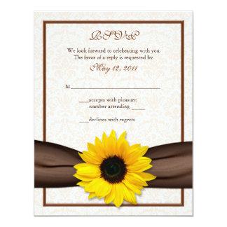 Sunflower Damask Floral Wedding Response Card