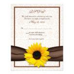 Sunflower Damask Floral Wedding Response Card Custom Announcement