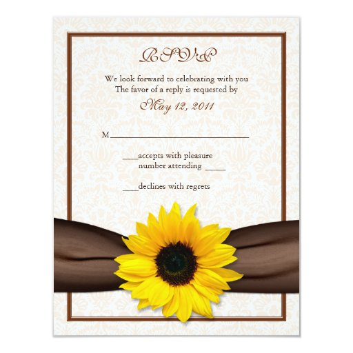 "Sunflower Damask Floral Wedding Response Card 4.25"" X 5.5"" Invitation Card"