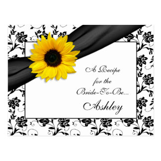 Sunflower Damask Recipe Card for the Bride to Be