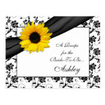 Sunflower Damask Recipe Card for the Bride to Be Postcard