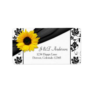 Sunflower Damask Wedding Return Address Label