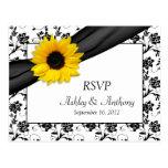 Sunflower Damask Wedding RSVP Postcard