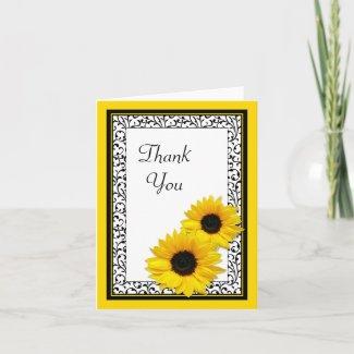 Sunflower Damask Wedding Shower Thank You Card card