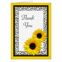 Sunflower Damask Wedding Shower Thank You Card