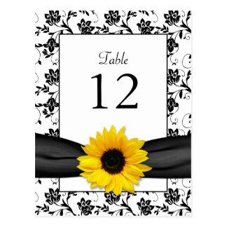 Sunflower Damask Wedding Table Card Post Card