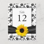 Sunflower Damask Wedding Table Number Card