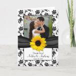 Sunflower Damask Wedding Thank You Card