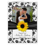 Sunflower Damask Wedding Thank You Card