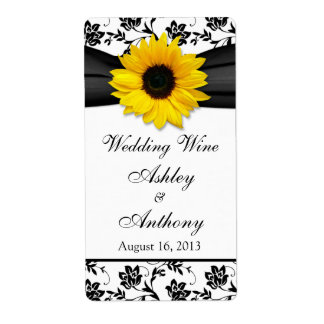 Sunflower Damask Wedding Wine Bottle Labels