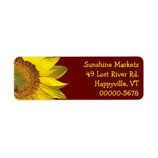 Sunflower Dark Red Skinny Return Address Label