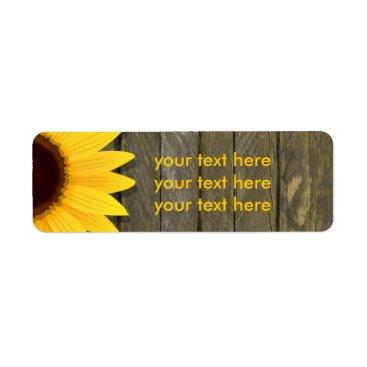 printabledigidesigns Sunflower Dark Wood Rustic Country Address Labels