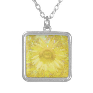 Sunflower Dazzle Silver Plated Necklace