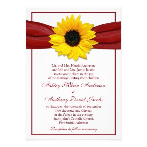 Sunflower Deep Red Ribbon Wedding Invitation