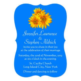 "Sunflower Delight Blue Floral Wedding Invitation 5"" X 7"" Invitation Card"