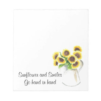 Sunflower design on items note pad