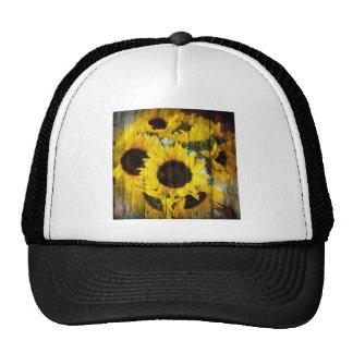 Sunflower design trucker hat