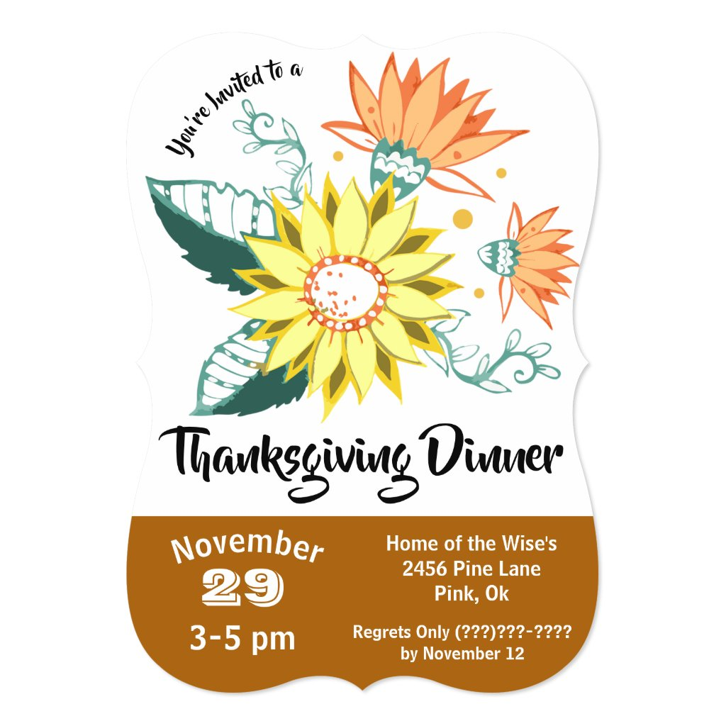 Sunflower Doodle Thanksgiving Dinner Invitation