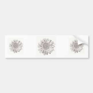 Sunflower drawing in Pen and Ink Bumper Sticker