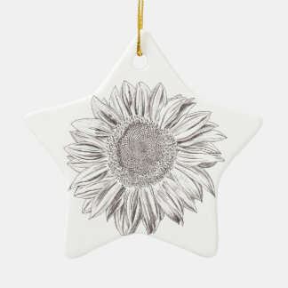 Sunflower drawing in Pen and Ink Ceramic Ornament
