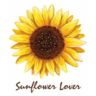 Sunflower drawing ladies t-shirt with custom text