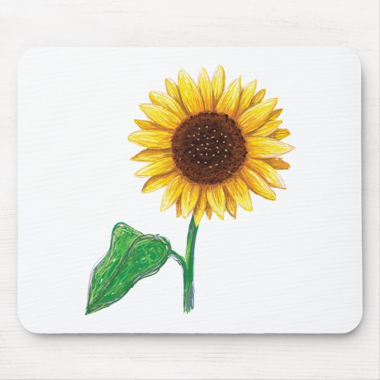 sunflower drawing mouse pad