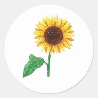 Sunflower drawing classic round sticker