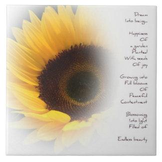 Sunflower Dream Poem Ceramic Tile