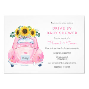 Sunflower Drive By Baby Girl Shower Invitation