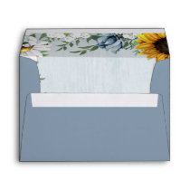 Sunflower Dusty Blue Country Rustic Roses Wedding Envelope