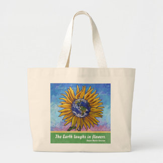 Sunflower Earth Art Large Tote Bag