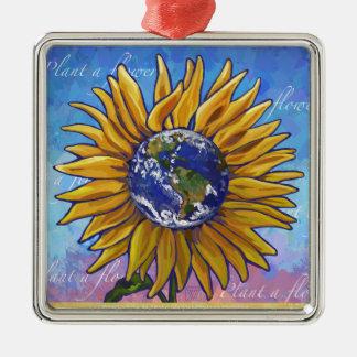 Sunflower Earth Art Metal Ornament