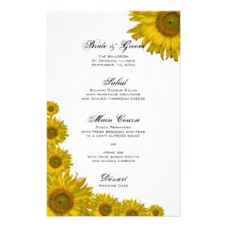 Sunflower Edge Wedding Menu Custom Stationery