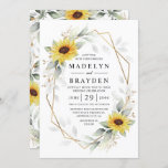 """Sunflower Elegant Rustic Geometric Gold Wedding Invitation<br><div class=""""desc"""">Design features watercolor greenery,  sunflowers,  printed gold elements and airy botanical leaves over a printed gold colored geometric frame. The back features a matching airy greenery and sunflower wreath.</div>"""
