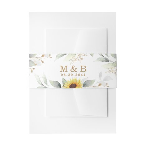 Sunflower Elegant Rustic Geometric Gold Wedding Invitation Belly Band