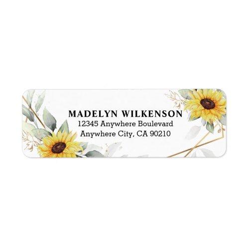 Sunflower Elegant Rustic Geometric Gold Wedding Label