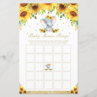 Sunflower Baby Shower Bingo Cards Elephant Game