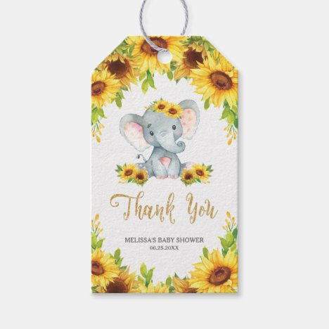 Sunflower Elephant Baby Shower Thank You Favor Gift Tags